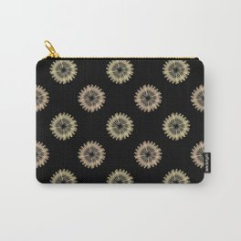 blooming floral pattern on black Carry-All Pouch