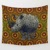 rhino Wall Tapestries featuring Rhino by Dusty Goods