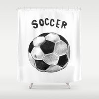 soccer Shower Curtains featuring Soccer by Matthias Leutwyler
