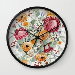 Fall Protea Bouquet Wall Clock
