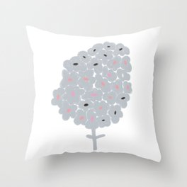Grey Flowers Throw Pillow