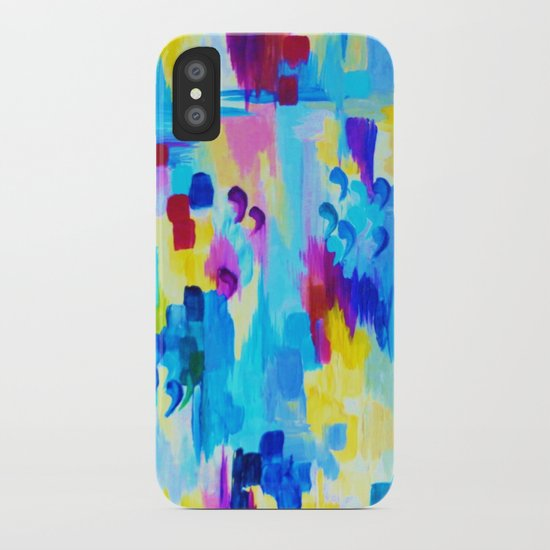 DONT QUOTE ME, Revisited - Bold Colorful Blue Pink Abstract Acrylic Painting Gift Art Home Decor  iPhone Case