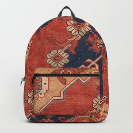 Southwest Tuscan Shapes III // 18th Century Aged Dark Blue Redish Yellow Colorful Ornate Rug Pattern Backpack
