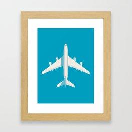 A380 Super Jumbo Jet Airliner - Cyan Framed Art Print