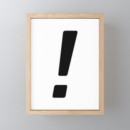 Simple Black Exclamation Point Framed Mini Art Print
