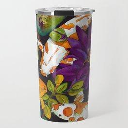 Purple Lily and Koi Travel Mug
