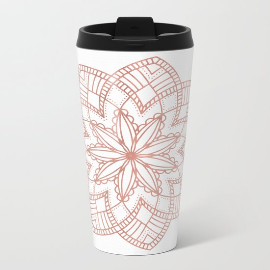 Mandala Posy Flower Rose Gold on White Metal Travel Mug