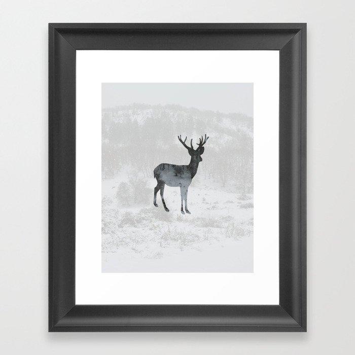Snowing Deer Framed Art Print