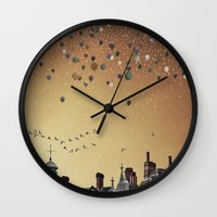 fitzgerald Wall Clocks featuring Innumerable wandering balloons by Emma Fitzgerald