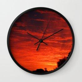 A Sky On Fire Wall Clock