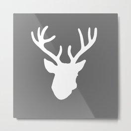 Deer Head: Grey Metal Print