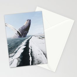 The Humpback Whale-Black Sand Beach in Iceland Stationery Cards