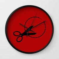 pivot Wall Clocks featuring Cut here with scissors by Sofia Youshi