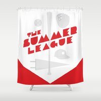 league Shower Curtains featuring The Summer League by Christopher P. Cacho