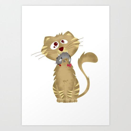 Cat Gift Art Print