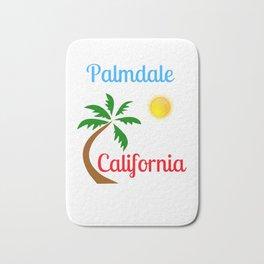 Palmdale California Palm Tree and Sun Bath Mat