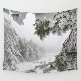 """Snowy forest"". At the foggy mountains... Wall Tapestry"