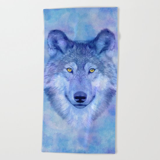 Sky blue wolf with Golden eyes Beach Towel