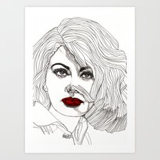 Sophia with Red Lips Art Print