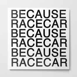 Because Racecar Metal Print