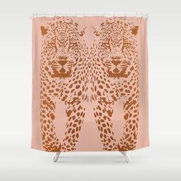Sunset Blvd Leopard - blush pink and coral original print by Kristen Baker Shower Curtain