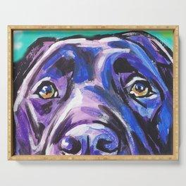 black Labrador Retriever Dog Pop Art by Lea Serving Tray