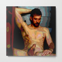 Male Oil Nude Metal Print