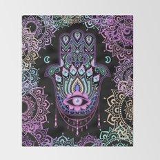 Pastel Hamsa amulet Throw Blanket