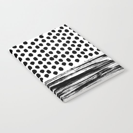 Zoe - Black and white dots, stripes, painted, painterly, hand-drawn, bw, monochrome trendy design Notebook