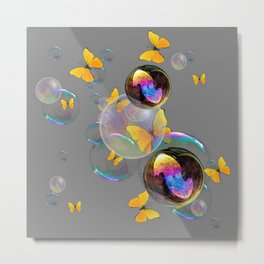 SURREAL YELLOW BUTTERFLIES & SOAP BUBBLES Metal Print