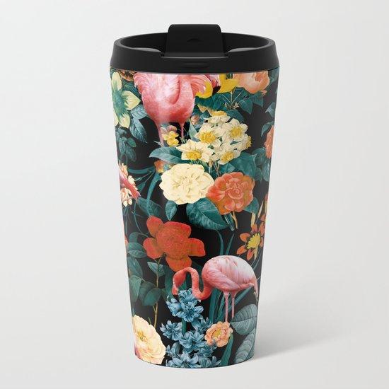 Floral and Flemingo II Pattern Metal Travel Mug