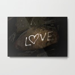 White Love Letters Graffiti on Brown Stone Urban Street Art Metal Print