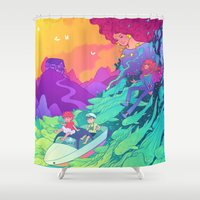 ponyo Shower Curtains featuring Ponyo by Jen Bartel