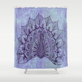 Doodle Peacock Purple Shower Curtain