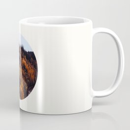 Mid Century Modern Round Circle Photo Graphic Design Autumn Orange Forest Hill Coffee Mug