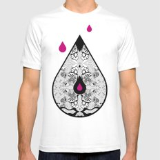 Drop White MEDIUM Mens Fitted Tee
