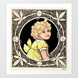 Yellow Bow Girl Art Print