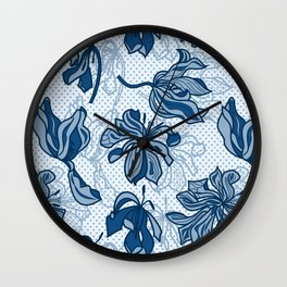 Abstract Tulips - Blue Wall Clock