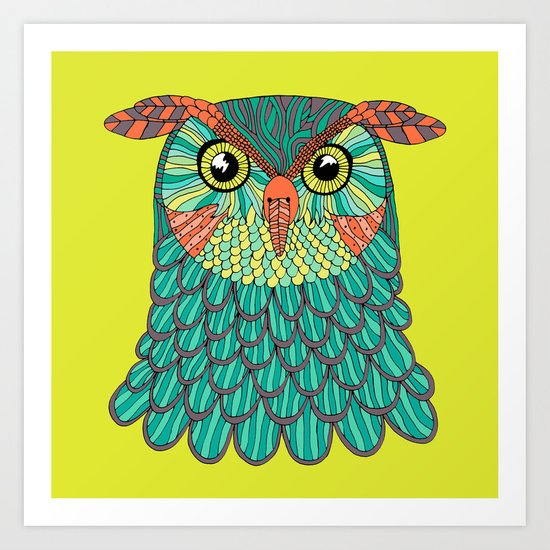 owl - Lime green Art Print