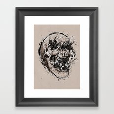 skull with demons struggling to escape Framed Art Print