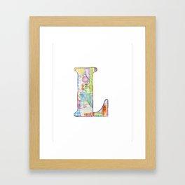 Letter L - Watercolor Monogram - Colorful Lettering - Watercolor Letter Print - Watercolor Initial Framed Art Print