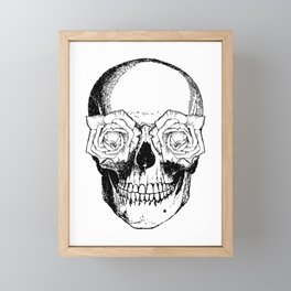 Skull and Roses | Black and White Framed Mini Art Print