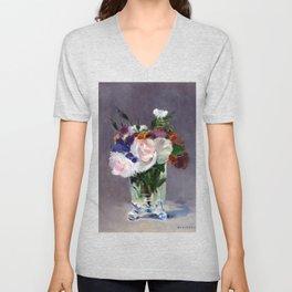 Edouard Manet Flowers in a Crystal Vase Unisex V-Neck