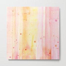Pink Orange Rain Watercolor Texture Splatters Metal Print