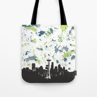 seahawks Tote Bags featuring Seahawks Seattle Skyline by Blythe Green