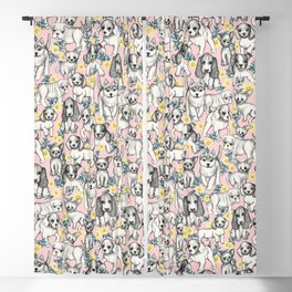 Dogs and Daisies on Pink Blackout Curtain