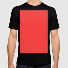 Coral red Mens Fitted Tee Black MEDIUM