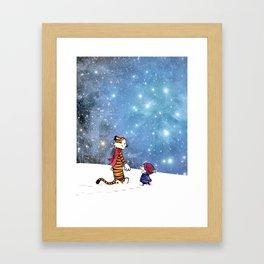 Calvin Hobbes snow white Framed Art Print