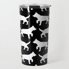 Black with white dogs pattern  Travel Mug