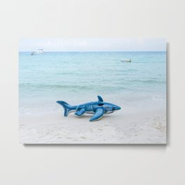 inflatable shark fish on beach Metal Print